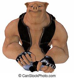 Big Toon Pig - 3D Render of an Big Toon Pig