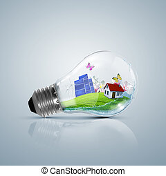 Lamp bulb with clean nature symbol inside - Ecoloy...