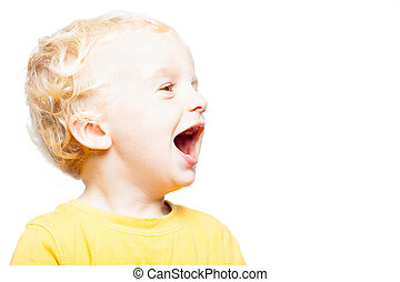 Happy laughing child - Profile of cute happy laughing child...