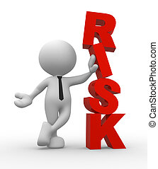 "Businessman - 3d people - man, person and a word ""Risk""...."