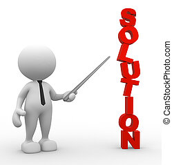 Solution - 3d people - man, person pointing a solution