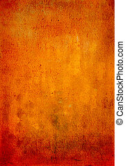 Abstract textured background with red, brown, and yellow patterns on orange backdrop
