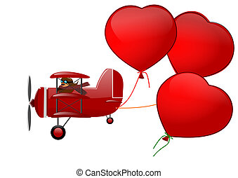 Triplane and three hearts on a white background -...