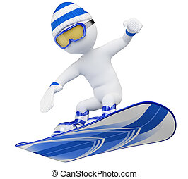 3D white people. Snowboard - 3d white snowboarder with...