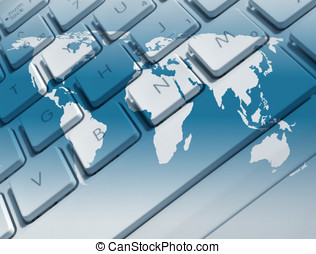 Worldwide communications - Closeup of laptop keyboard...