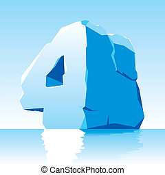 ice number 4 - vector image of ice number 4