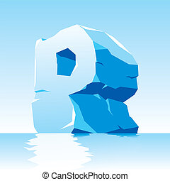 ice letter P - vector image of ice letter P