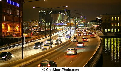 Transportation traffic in Stockholm - Night scenery of...