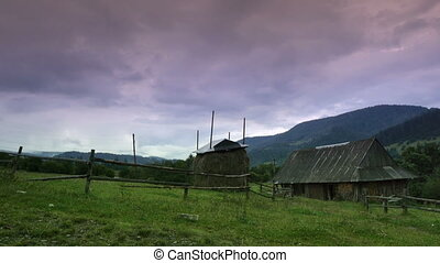 Rural landscape at sunset in Carpathians