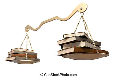 Balancing Books Scale - A gold scale that it balanced with a...