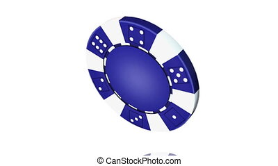 Casino chip - Animation isolate on white, loop