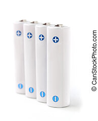 White rechargeable AA batteries on white background showing...