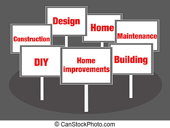 Home improvement signs - Home improvement concept signs with...