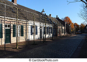 former weavers cottages in Tilburg - street with former...