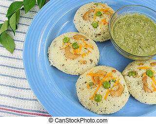 Vegetarian Food - Steam cooked semolina cakes.