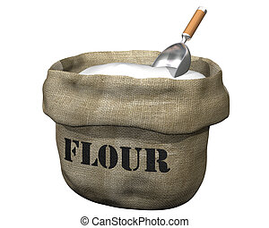 Sack of flour - Isolated illustration of an open sack...