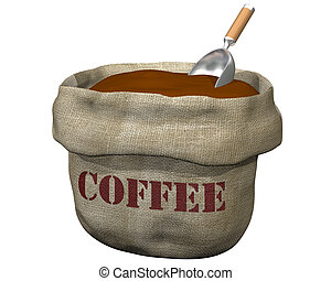 Sack of coffee - Isolated illustration of an open sack...