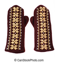 Brown mittens - Brown woolen knitted mittens on white...