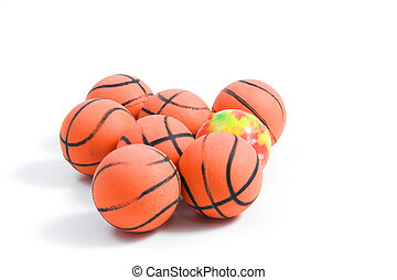 Bouncy Balls shaped like basketballs.