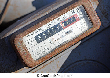 gas meter with rusty viewer display - gas meter with rusty...