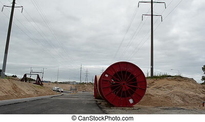 electricity cable reel - high voltage cable reels in front...