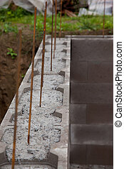 Concrete foundation - Concrete fill house foundation with...