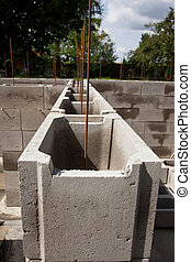 Concrete foundation - Concrete block of building foundation...