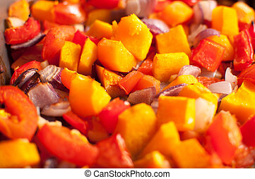 Roasted Vegatables - Hot Roasting Vegatables in an oven