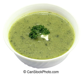 Bowl of vegetable soup on a white background