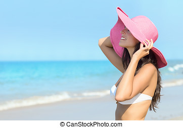 Happy sexy woman summer in beach - Cheerful sexy woman...