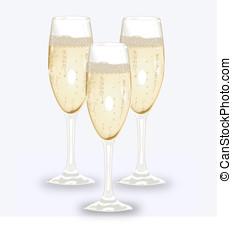 3d champagne glasses
