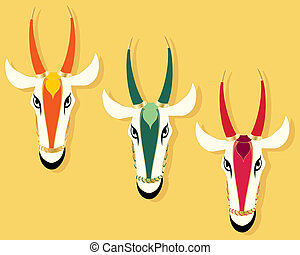 jain cow heads - an abstract illustration of three jain cow...