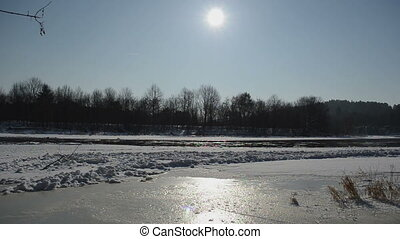frozen river in winter - Frozen river Neris in winter...