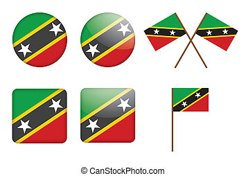 flag of Saint Kitts and Nevis - set of badges with flag of...
