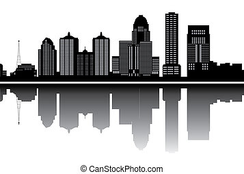 louisville skyline with buildings in black