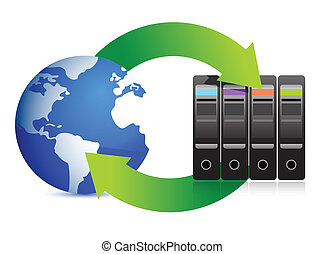 Network Concept  Servers and globe