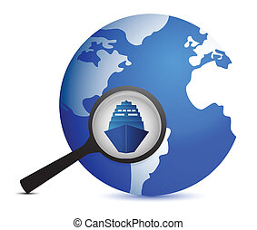 icon with ship and magnifier with planet illustration design