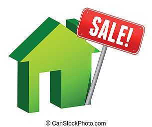 House with sale sign illustration