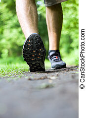 Walking or running on trail in summer forest