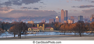Denver. - Panoramic image of Denver at sunrise with Rocky...