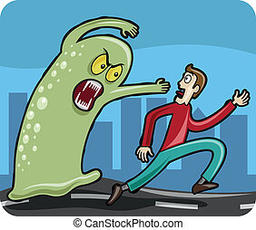 Man chased by Monster