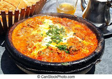 Marrocos, nacional, prato, -, tajine, encontre, legumes,...