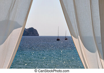 white curtains boats by the sea - White curtains window view...