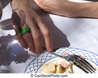 hand with a ring holding