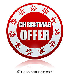 christmas offer red circle banner with snowflakes symbol -...