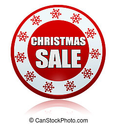 christmas sale red circle banner with snowflakes symbol -...