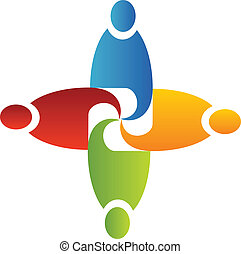 Teamwork in business logo vector