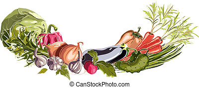 Vegetables Decorative Composition - Fresh greengrocery...