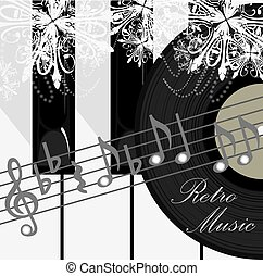 Retro music background - Piano keys, disc and notes. Retro...