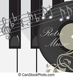 Abstract music background - Piano keys, disc and notes....